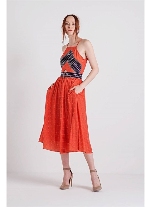 Rue Desenli Askılı Midi Elbise Oranj